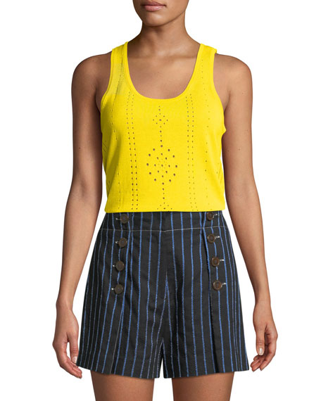 Derek Lam 10 Crosby Scoop-Neck Sleeveless Pointelle Knit