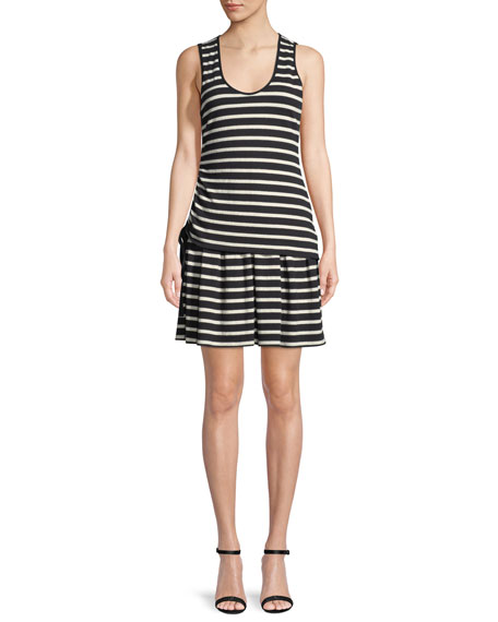 Derek Lam 10 Crosby Striped Jersey Scoop-Neck Mini