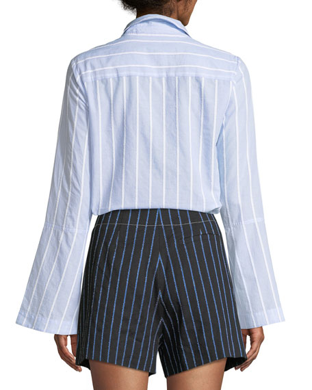 Bell-Sleeve Striped Button-Down Shirt