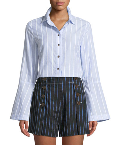Bell-Sleeve Striped Button-Down Shirt
