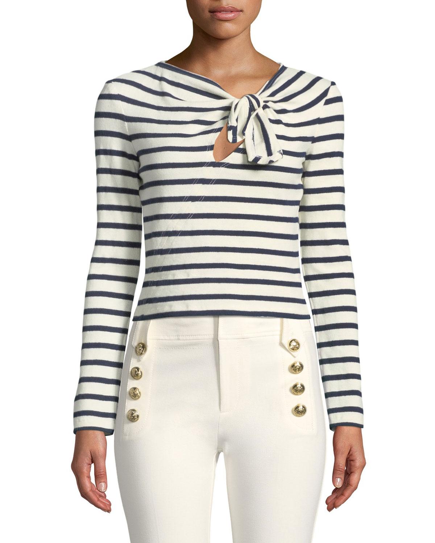 3ec0f8353121f0 Derek Lam 10 Crosby Long-Sleeve Knotted Striped Crop Top