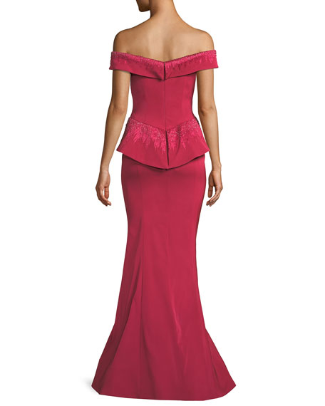 Off-the-Shoulder Framed Peplum Gown