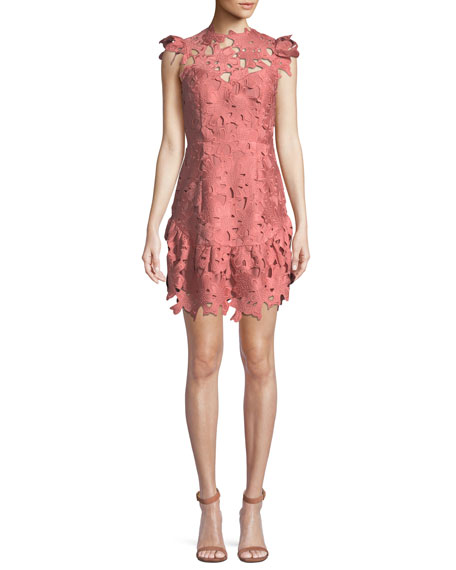 Saylor Samantha Floral Guipure Mini Dress