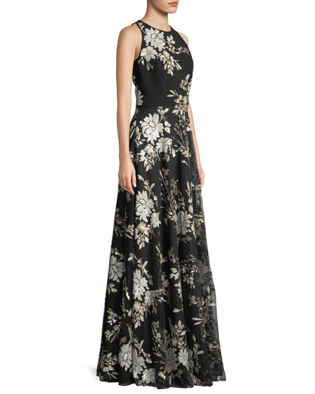 Sleeveless Floral-Sequin Gown
