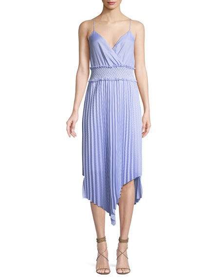 Saylor Kinsley Shirting Stripe Asymmetric Midi Dress