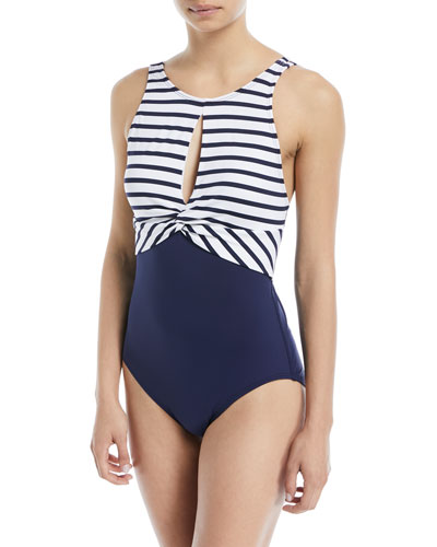 Channel Surfing Twist-Front One-Piece Swimsuit