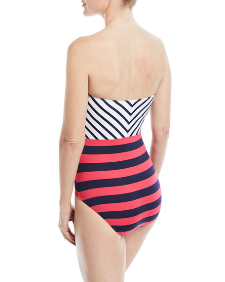 Channel Surfing Bandeau One-Piece Swimsuit