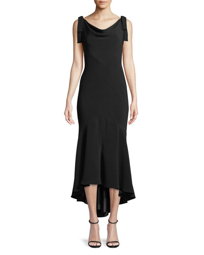 Tie-Shoulder High-Low Midi Dress
