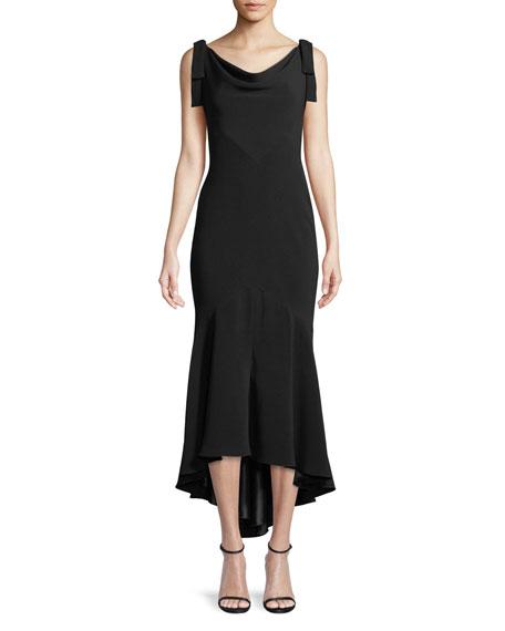 Tie-Shoulder High-Low Midi Dress