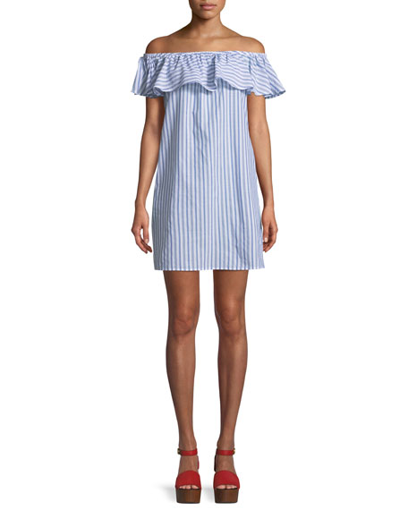 Ticking Stripe Off-Shoulder Ruffle Mini Dress