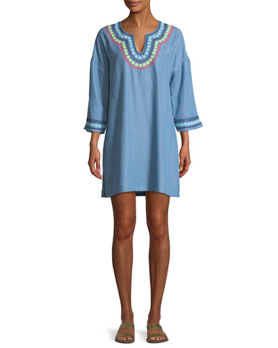 Chambray Tencel® Embroidered Tunic
