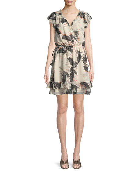 Rhoda Printed Short-Sleeve Mini Dress