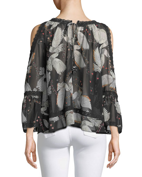 Deneuve Bird-Print Cold-Shoulder V-Neck Top w/ Crochet Lace