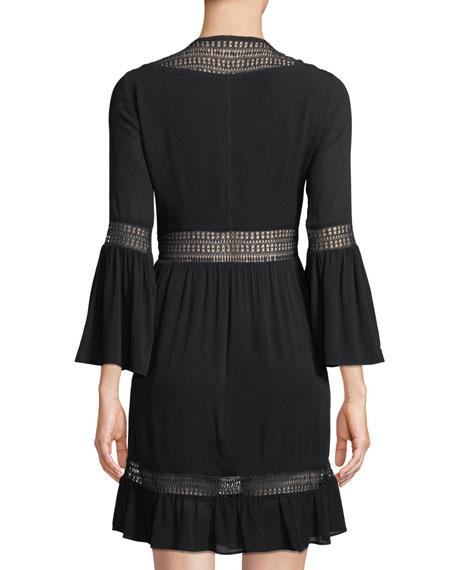 Merryl Bell-Sleeve Crochet Mini Dress