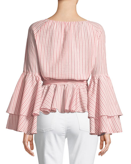 Melly Striped Bell-Sleeve Blouse