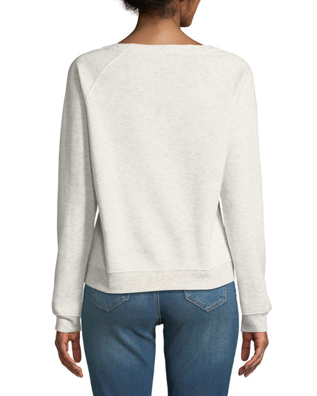 Raquel Lace-Up Pullover Crewneck Sweatshirt