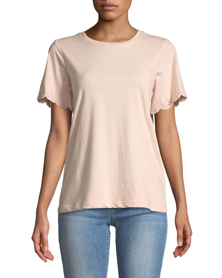 Ronnie Eyelet Short-Sleeve Crewneck T-Shirt