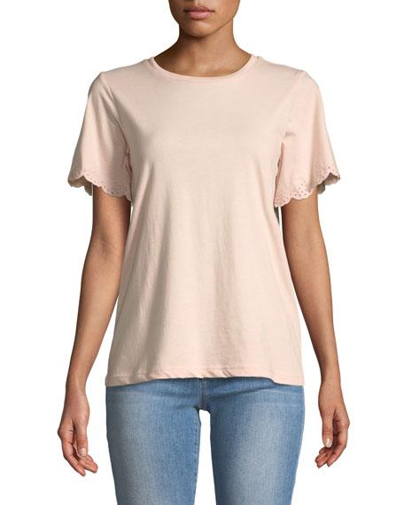 Rebecca Minkoff Ronnie Eyelet Short-Sleeve Crewneck T-Shirt