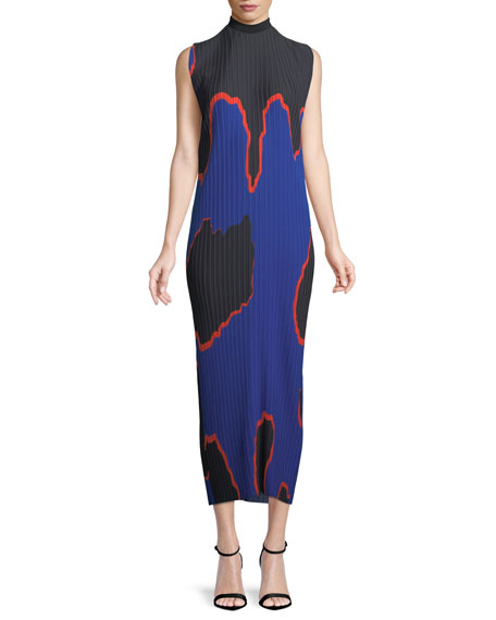 Arielle Mock-Neck Sleeveless Pleated Chiffon Long Dress