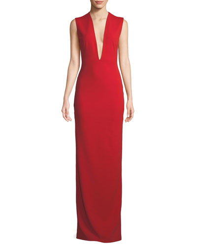 Ophelie Plunging Sleeveless Evening Gown