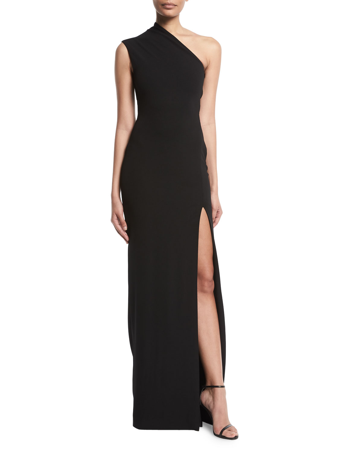 6ab4bdcb9c1 Solace London Averie One-Shoulder Side-Slit Maxi Dress
