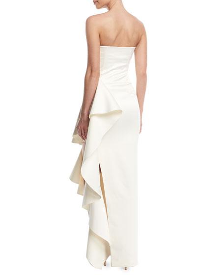 Aryana Strapless Maxi Dress w/ Dramatic Ruffle Detailing