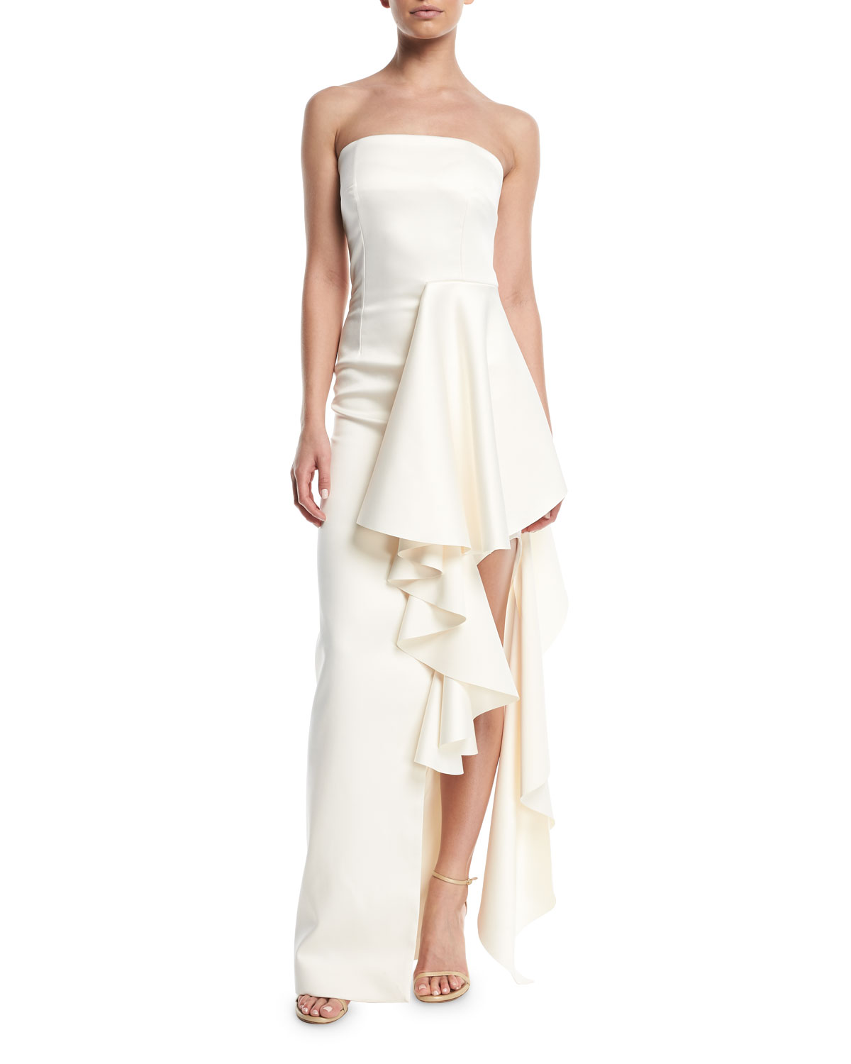 Solace London Aryana Strapless Maxi Dress w/ Dramatic ...