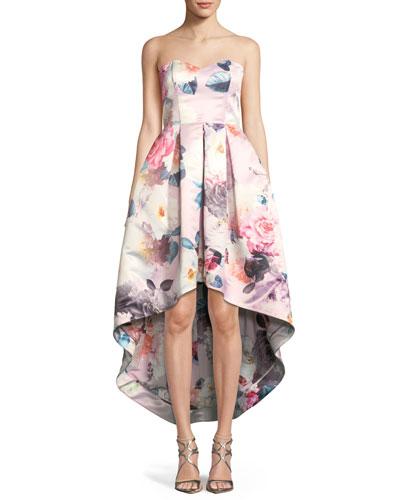 Roxanne Strapless High-Low Floral Dress