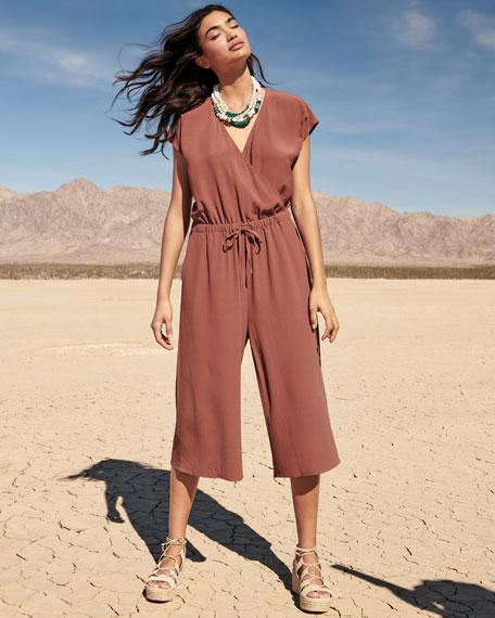 Crepe Cropped Jumpsuit, Plus Size