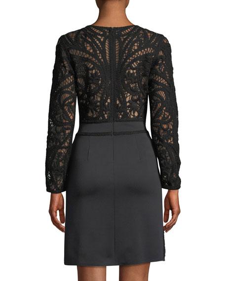 Crochet Lace Long-Sleeve Mini Cocktail Dress