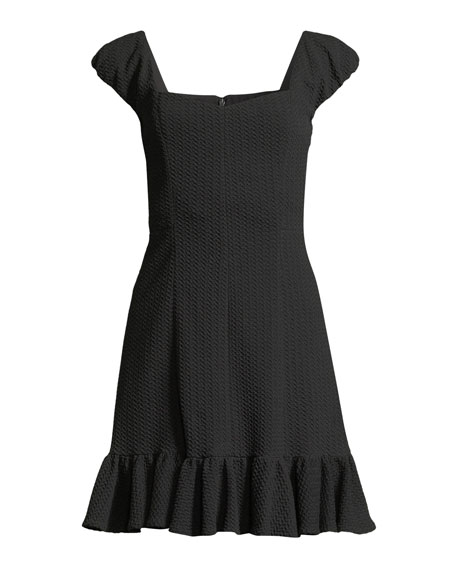 Cap-Sleeve Structured Textured Dress