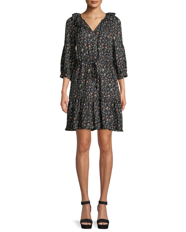 a229c37d8c3e2 Rebecca Taylor Vine-Print Long-Sleeve Silk Shirtdress