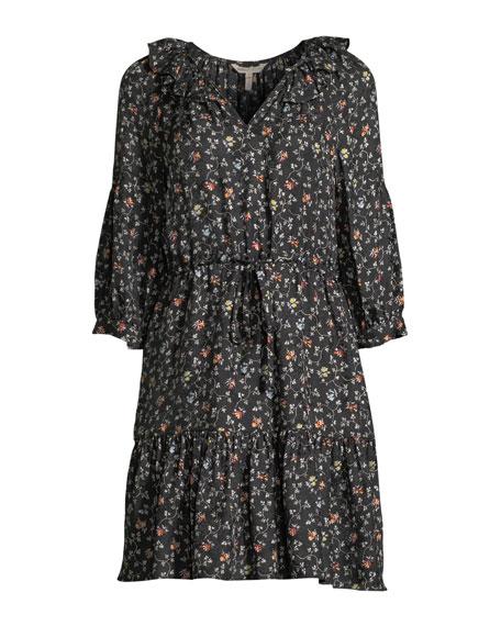 Vine-Print Long-Sleeve Silk Shirtdress