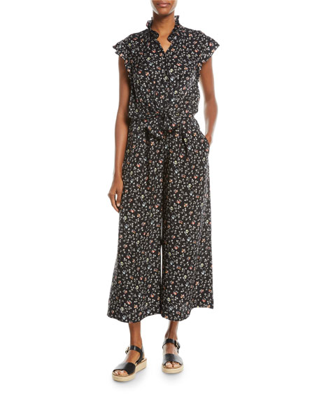 Sleeveless Vine-Print Wide-Leg Silk Jumpsuit