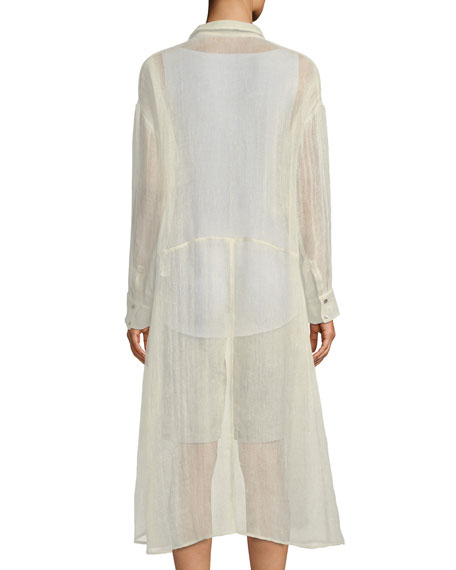 Organic Linen-Blend Button-Front Duster