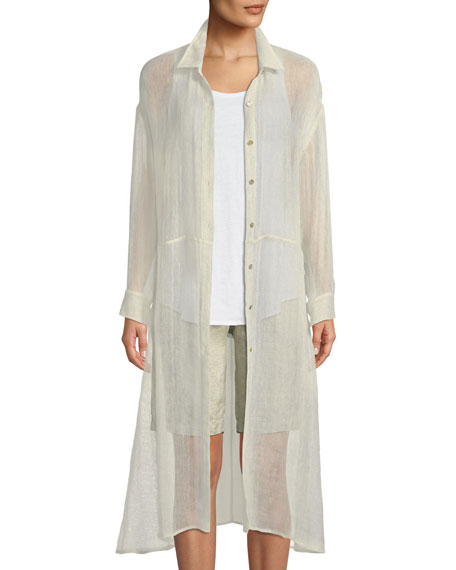 Eileen Fisher Organic Linen-Blend Button-Front Duster
