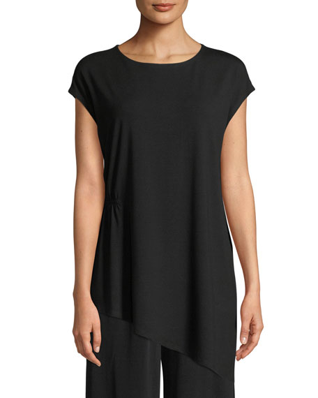 Eileen Fisher Jewel-Neck Viscose-Jersey Top, Petite