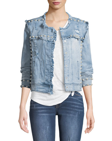 Evie Pearls Distressed Denim Jacket