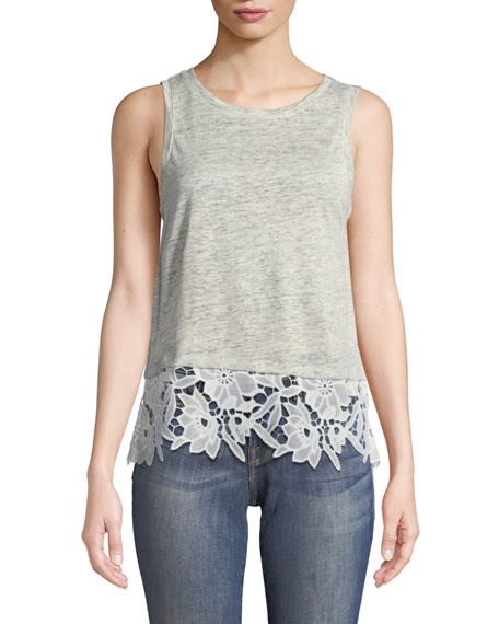 Generation Love Mila Lace-Up Sleeveless Linen Top