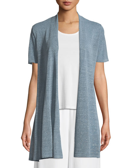 Eileen Fisher Organic Linen-Crepe Shimmer Long Cardigan, Plus