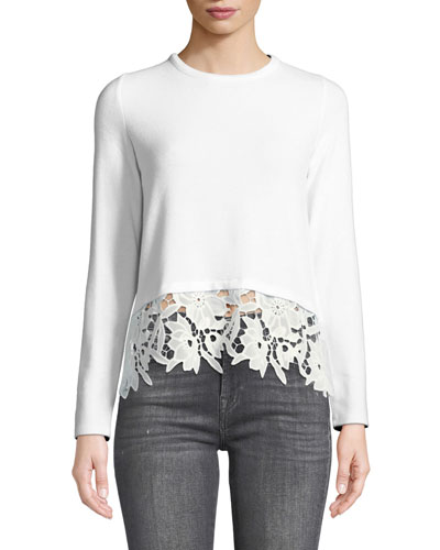 Kinsley Self-Tie Back Pullover with Lace Hem