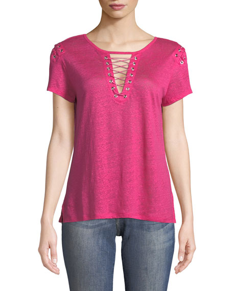 Generation Love Hugo Lace-Up Linen Top