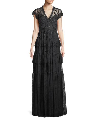 Mirage Frill Sequin Crepe Gown