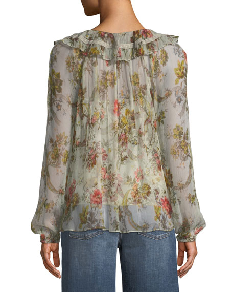 Rainbow Rose Long-Sleeve Chiffon Blouse