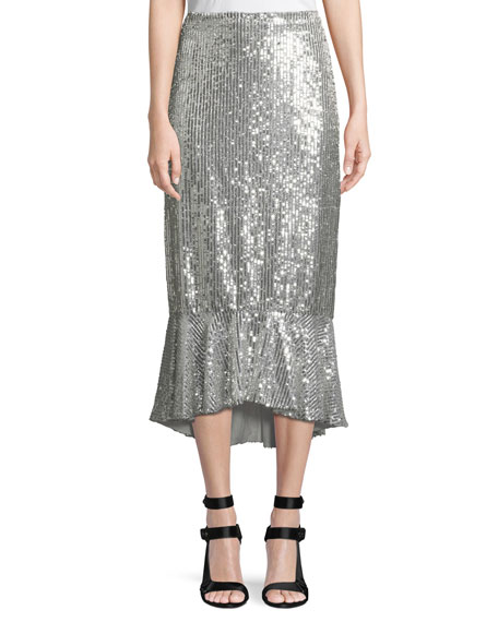 Alice + Olivia Kina Sequined Midi Pencil Skirt