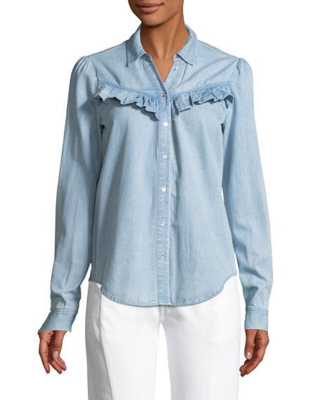 Layda Snap-Front Chambray Shirt w/ Ruffled Trim