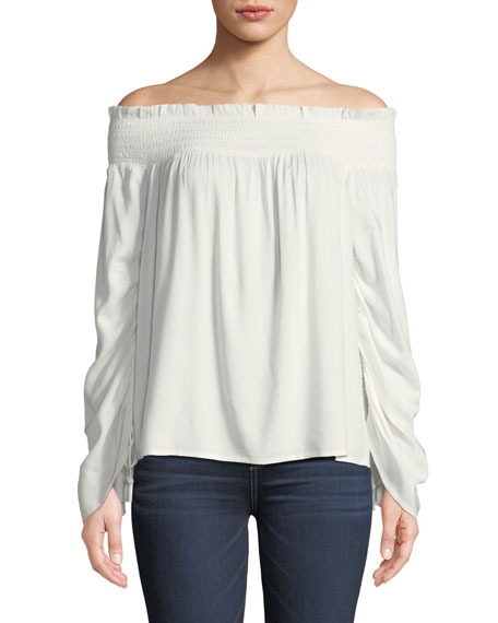 PAIGE Cherita Smocked Off-the-Shoulder Drawstring Sleeve Top