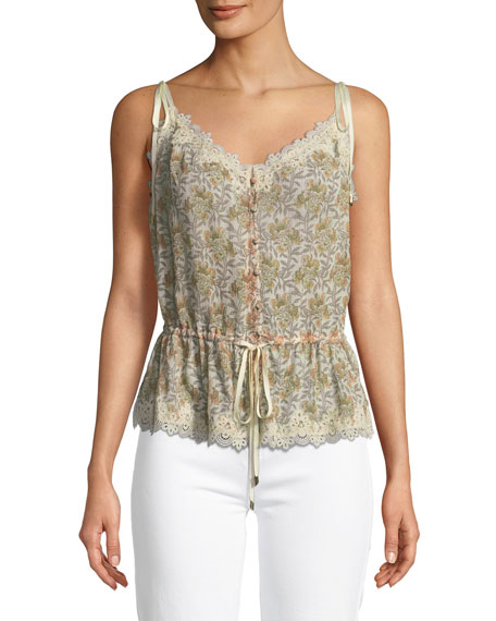 PAIGE Louisa V-Neck Floral-Print Blouse with Crochet Trim