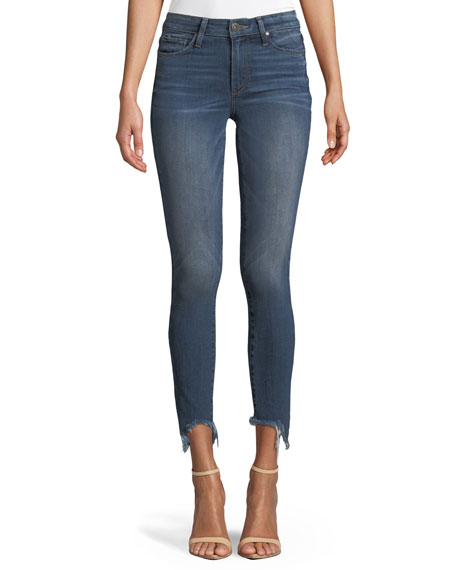 PAIGE Verdugo Skinny Ankle Jeans with Torn Fray