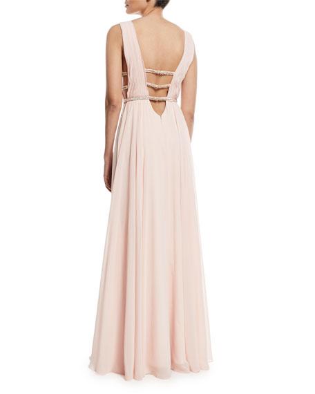 Sleeveless V-Neck Gown w/ Lattice Details